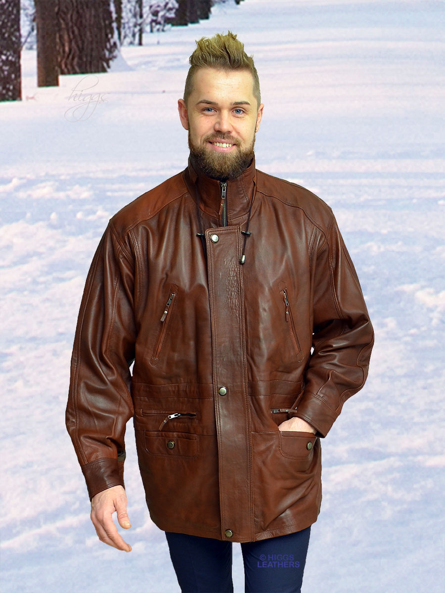Higgs Leathers {ONE ONLY SOLD!}  Michael (men's tan leather Parka jacket )
